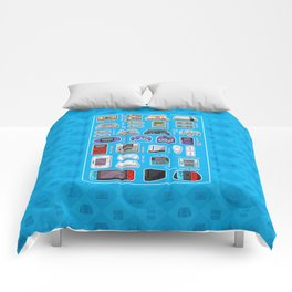Pixel Art Consoles in Blue Comforters