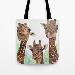 Giraffe's Family Portrait by Maureen Donovan Tote Bag