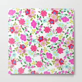 Modern Pink Teal Yellow Hand Painted Floral Metal Print