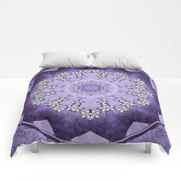 Silver flowers on deep purple textured mandala disc Comforters