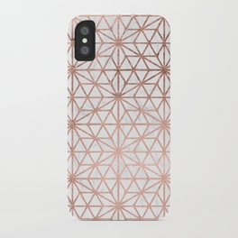 Modern rose gold stars geometric pattern Christmas white marble iPhone Case