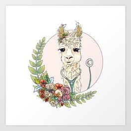 Healthcare Llama Art Print