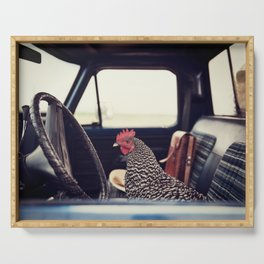 A Hen on a Sunday Drive Serving Tray