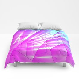 Bright sky fragments of crystals on irregularly shaped purple and blue triangles. Comforters