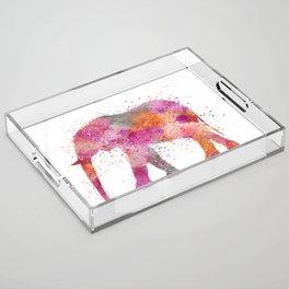 Artsy watercolor Elephant bright orange pink colors Acrylic Tray