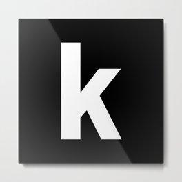 letter K (White & Black) Metal Print