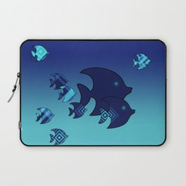 Nine Blue Fish with Patterns Laptop Sleeve