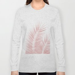 Blush Pink Palm Leaves Dream - Cali Summer Vibes #1 #tropical #decor #art #society6 Long Sleeve T-shirt