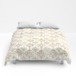 White & Gold Motif Comforters