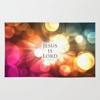 bible Area & Throw Rugs featuring Jesus is Lord - Bible Lock Screens by Bible Lock Screens