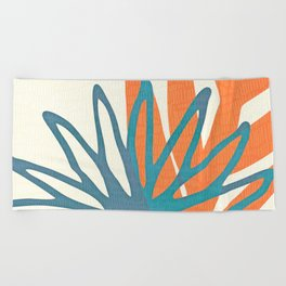 Mid Century Nature Print / Teal and Orange Beach Towel