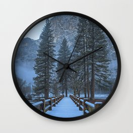 Swinging Bridge (also known as Sentinel Bridge) is covered in a fresh dusting of Spring snow Wall Clock