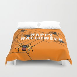 Happy Halloween Spider orange Duvet Cover