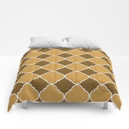 Brown and Beige Ornamental Pattern with White Border Digital Artwork Comforters