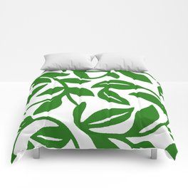 PALM LEAF VINE SWIRL IN GREEN AND WHITE Comforters