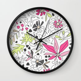 Retro floral pattern Wall Clock