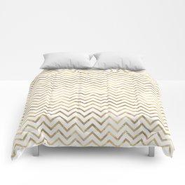 Glam Gold and White Chevron Stripes Comforters