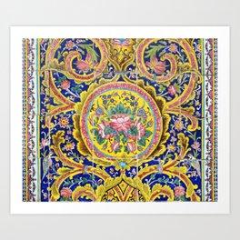 Floral Persian Tile Art Print
