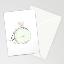 Green parfum with girl Stationery Cards