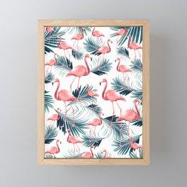 Summer Flamingo Palm Vibes #1 #tropical #decor #art #society6 Framed Mini Art Print