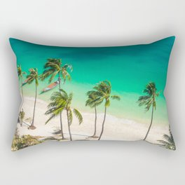 An Aerial view of a Scenic Beach in Thailand Rectangular Pillow