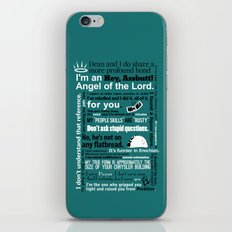 Supernatural - Castiel Quotes iPhone & iPod Skin