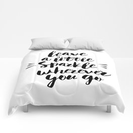 Leave a Little Sparkle Wherever You Go black-white quotes typography design home wall decor Comforters