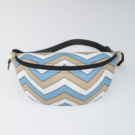 Blue Brown and White Chevrons Fanny Pack