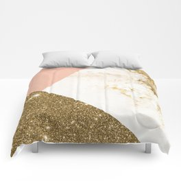 Gold marble collage Comforters