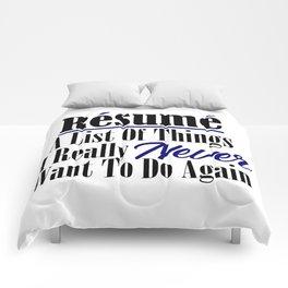 Funny Resume Hate Work Sarcastic Job Stupid Boss Meme Comforters