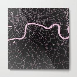 London Black on Pink Street Map Metal Print