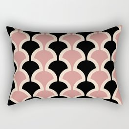 Classic Fan or Scallop Pattern 441 Black and Dusty Rose Rectangular Pillow