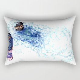 Ninja Stealthily Disappears into Bubble Bath Rectangular Pillow