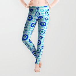 Evil Eye Symbol Blue White Pattern Leggings