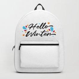Hello Winter Decorative Modern Script Slogan Backpack