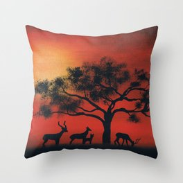 African Silhouette Throw Pillow