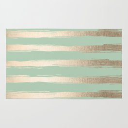 Simply Brushed Stripes White Gold Sands on Pastel Cactus Green Rug