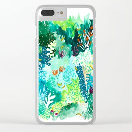 Twice Last Wednesday: Abstract Jungle Botanical Painting Clear iPhone Case