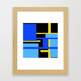 Rectangles - Blues, Yellow and Black Framed Art Print