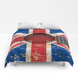 Old Vintage Acoustic Guitar with Union Jack British Flag Comforters