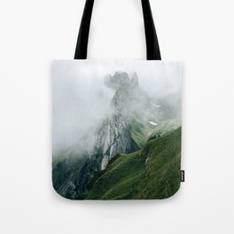 Switzerland Mountain Range in the Clouds - Landscape Photography Tote Bag