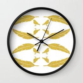 Feather & Bird - Mustard Tang Wall Clock