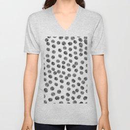 Hand painted black white watercolor brushstrokes polka dots Unisex V-Neck