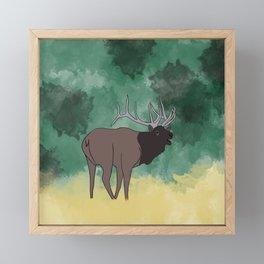 Bull Elk Bugling Framed Mini Art Print