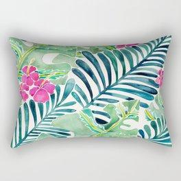 Lush Tropical Fronds & Hibiscus Rectangular Pillow