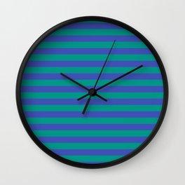 Even Horizontal Stripes, Teal and Indigo, XS Wall Clock
