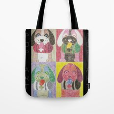 Four dogs Pop Art Tote Bag