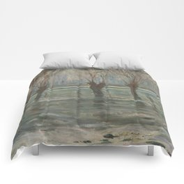 Flood Waters by Claude Monet Comforters