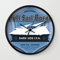 ale giorgini Wall Clocks featuring Full Sail Barge Ale by Mike Sapora Demaine