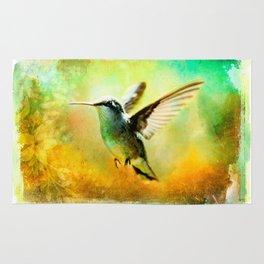 Hummingbird in Flight Watercolor Wash Rug